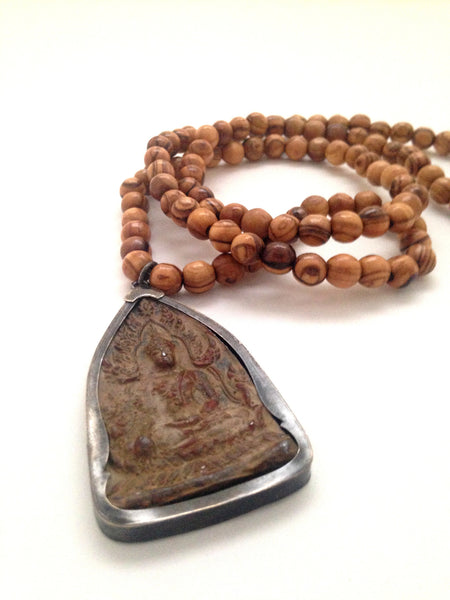 Sitting Buddha Olive Wood Mala