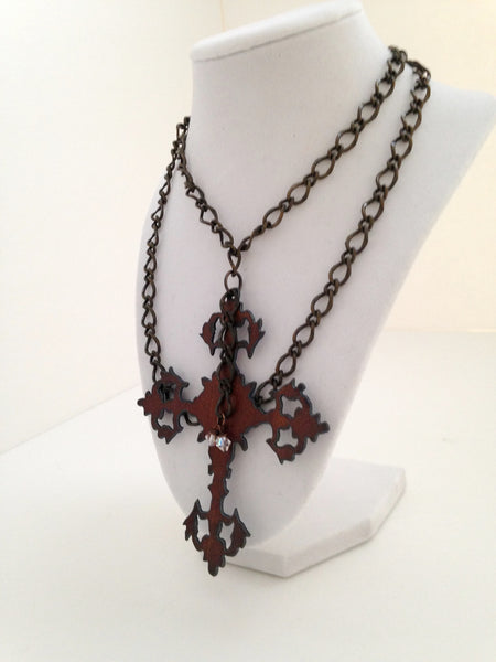 Recycled Copper Cross Necklace