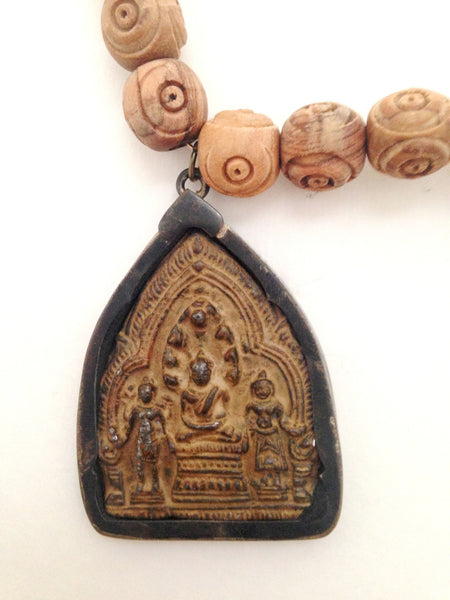 Sitting Buddha With Hand-Carved Olive Wood Beads