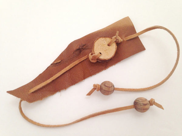 Birch Wood Angled Leather Bracelet