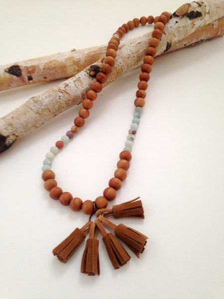 Amazonite Mini Tassel Necklace