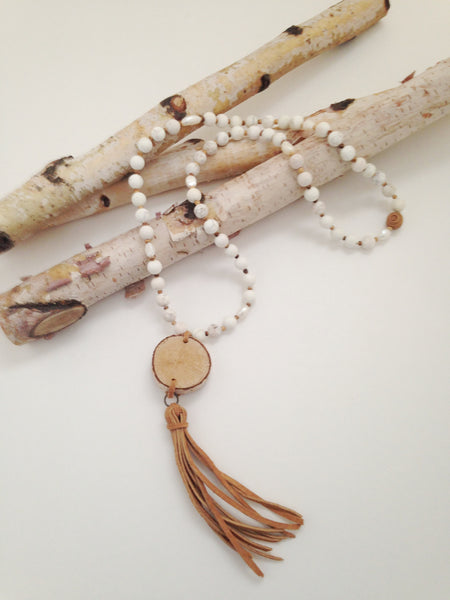 White Howlite Birch Wood Necklace