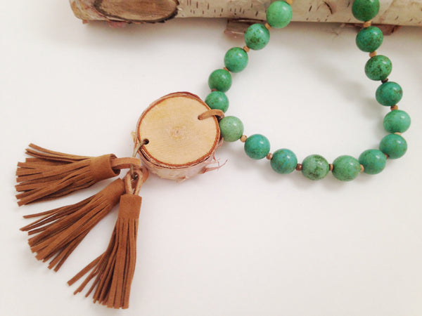 Turquoise Howlite Birch Wood Necklace