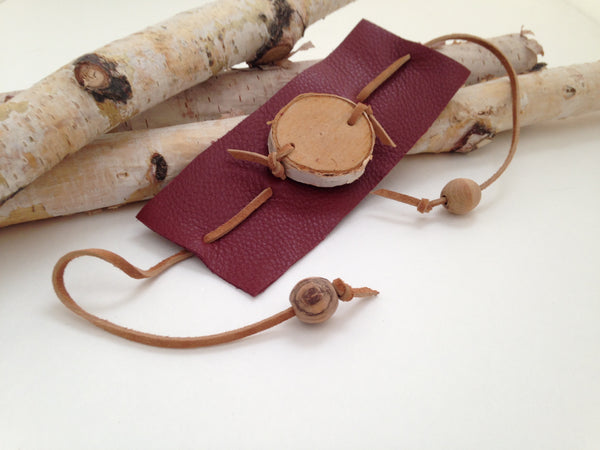 Red Leather Birch Wood Bracelet