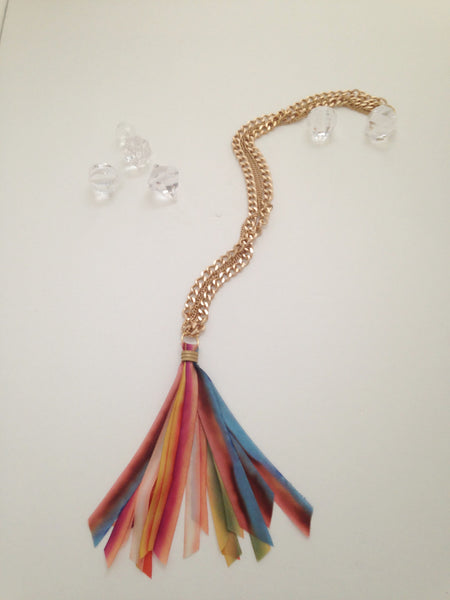 Hand-Dyed Silk Rainbow Tassel Necklace