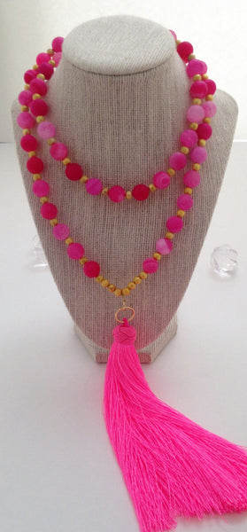 Pink Fire Agate Necklace
