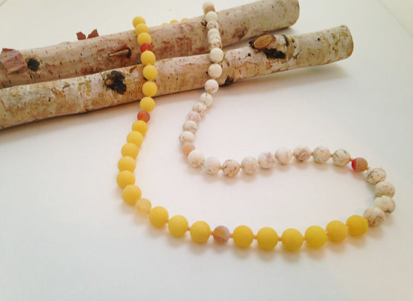 Yellow Jade and White Howlite Necklace