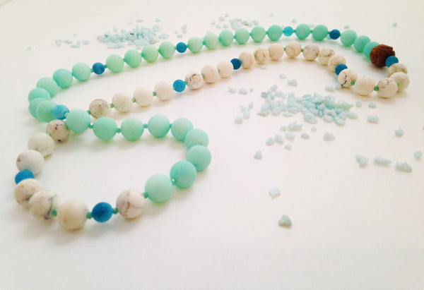 Blue Jade and White Howlite Necklace