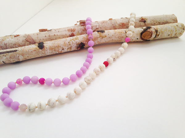 Lavender Jade and White Howlite Necklace