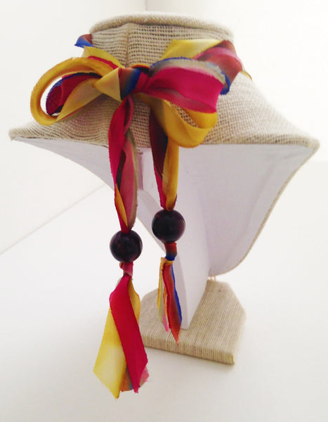 Hand-Dyed Silk Necklace with Gold Tassel