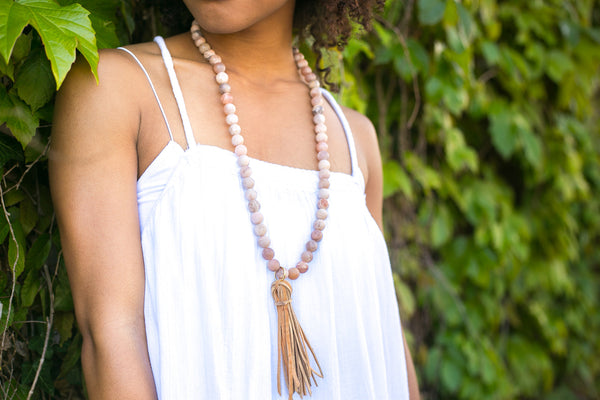 Moonstone Necklace with Suede Tassel