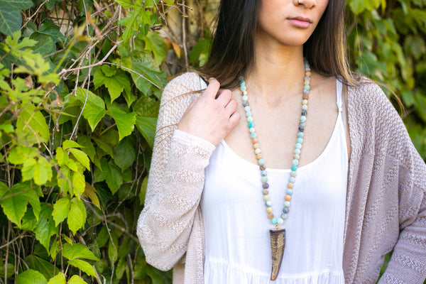 Amazonite Buffalo Horn Necklace