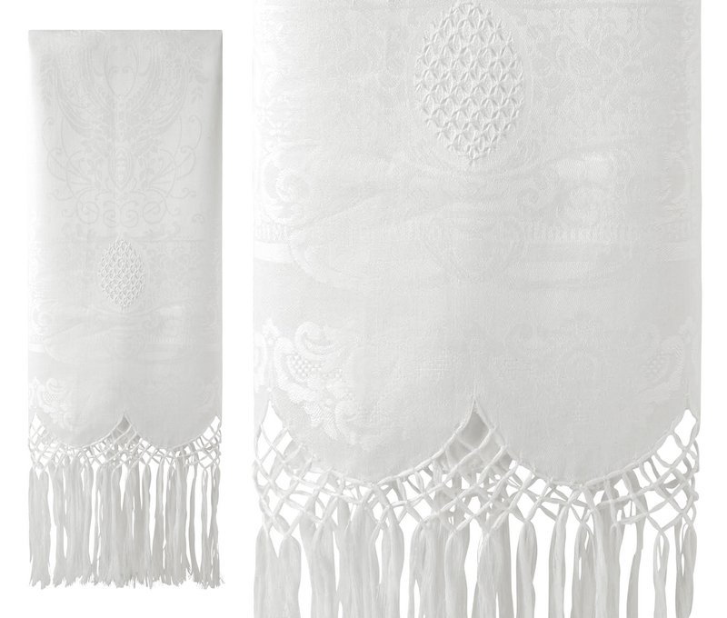 BROCHE LINEN HAND TOWEL WITH FRINGE