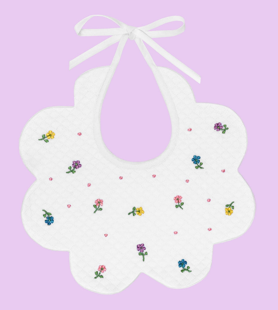 BABY BIB SCALLOPED WITH PETITE FLOWERS