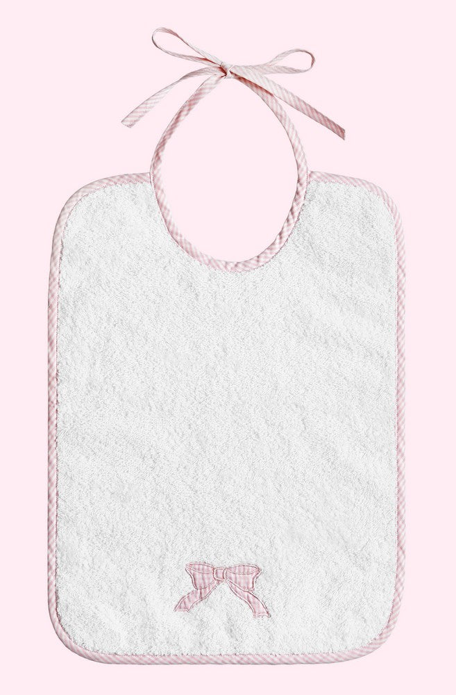 BABY BIB WITH PINK BOW EMBROIDERY
