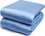 CHANNEL STRIPE CHARMEUSE SILK QUILT - FRENCH BLUE