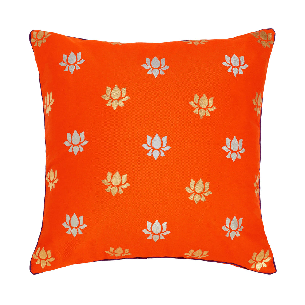 CANVAS HAND PRINTED PILLOWS - LOTUS PINK, ORANGE, PURPLE