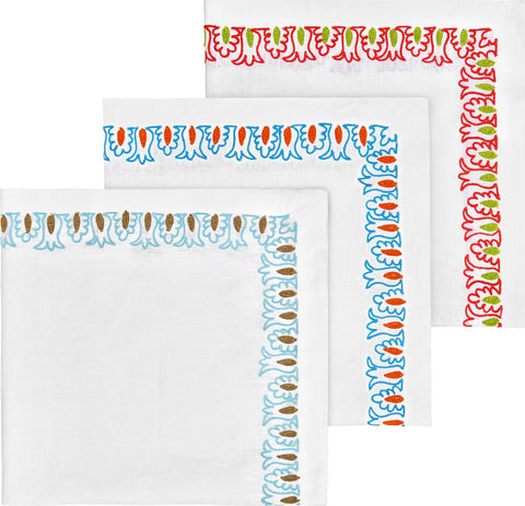 6 CORAL EMBROIDERED NAPKINS