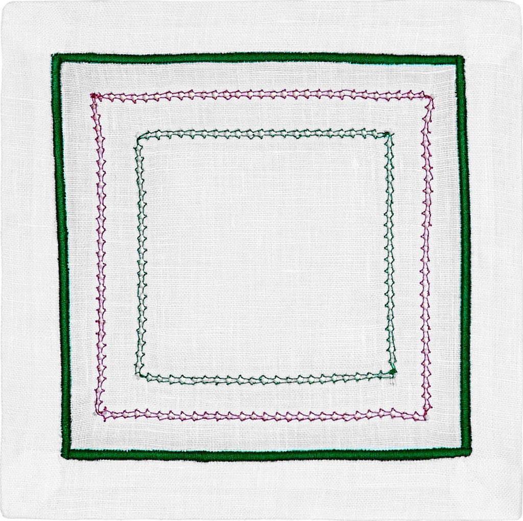 LINEN EMBROIDERED COCKTAIL NAPKINS