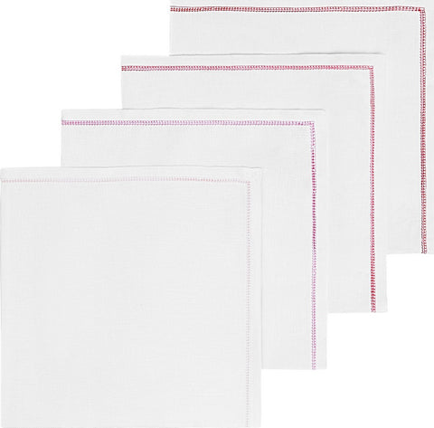 8 WHITE LINEN NAPKINS WITH ANY COLOR HEMSTITCH