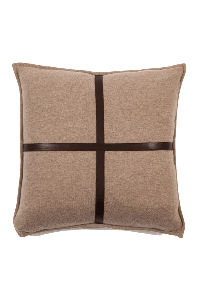 SARDINIA BLACK CASHMERE PILLOW WITH TAN LEATHER ACCENTS