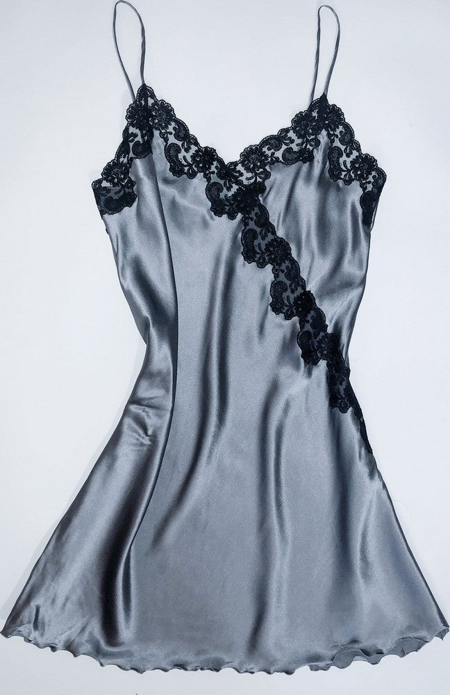 ITALIAN SILK SLIPS WITH LACE - WRAP OVER DESIGN - CHARCOAL & PEARL GREY COLORS