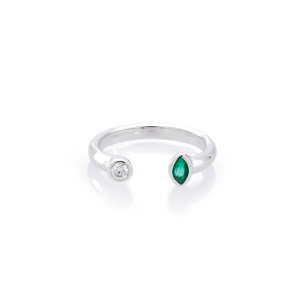 Emerald and Diamond Open Ring