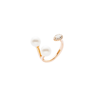 Isla Double Pearls and Pear Shaped Diamond Ring