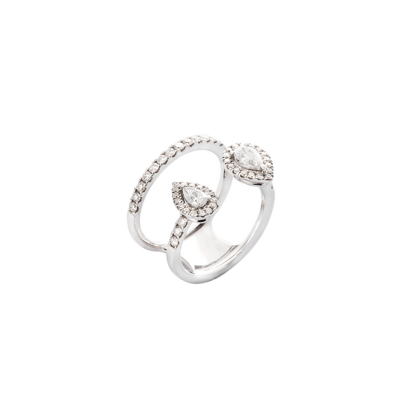 Pear-Shaped Double Band Ring