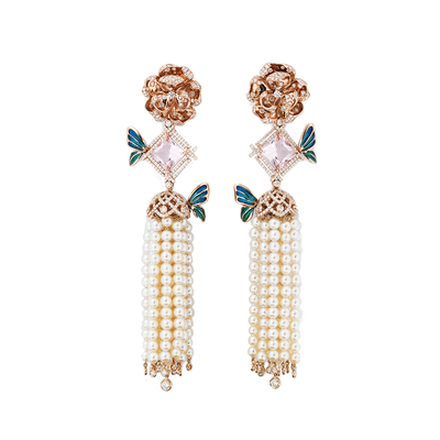 Blossom Diamond Tassel Earrings