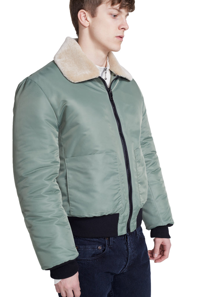 NYLON FLIGHT BOMBER JACKET WITH REMOVABLE COLLAR