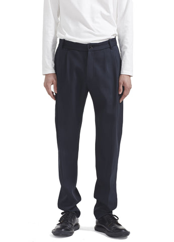 PLEATED PANTS IN NAVY CAVALRY TWILL