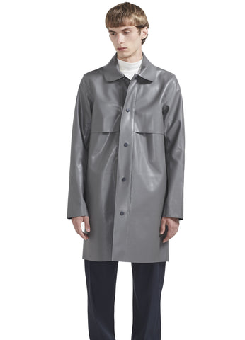 MAC RAINCOAT IN GREY POLYURETHANE LEATHER