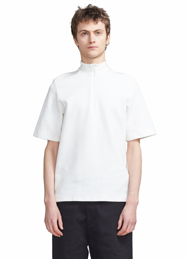 SHORT SLEEVE ZIP-UP MOCKNECK