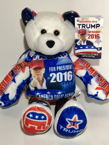 Qty of 3 Donald Trump Limited Edition Presidential Campaign Collectible Bean Bears