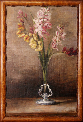 """Still life with Glass & Silver Vase"" By Artist: Alice Bell Dane"