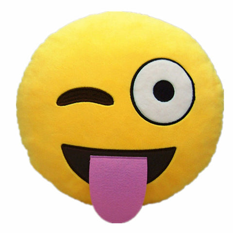 Emoji Pillow - Tongue Out Plush Toy Cushion
