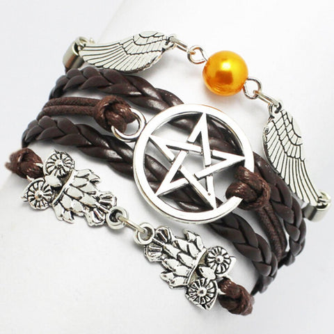 Handmade Custom Braided Leather Five-pointed Star Owl, Angel Wing - Bracelet