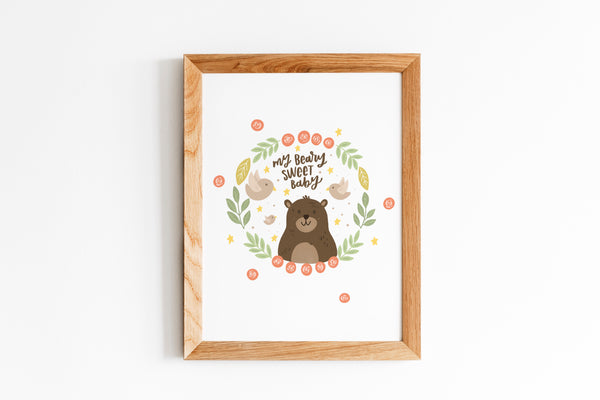 MY BEARY SWEET BABY - Nursery Wall Art-- NursElet®