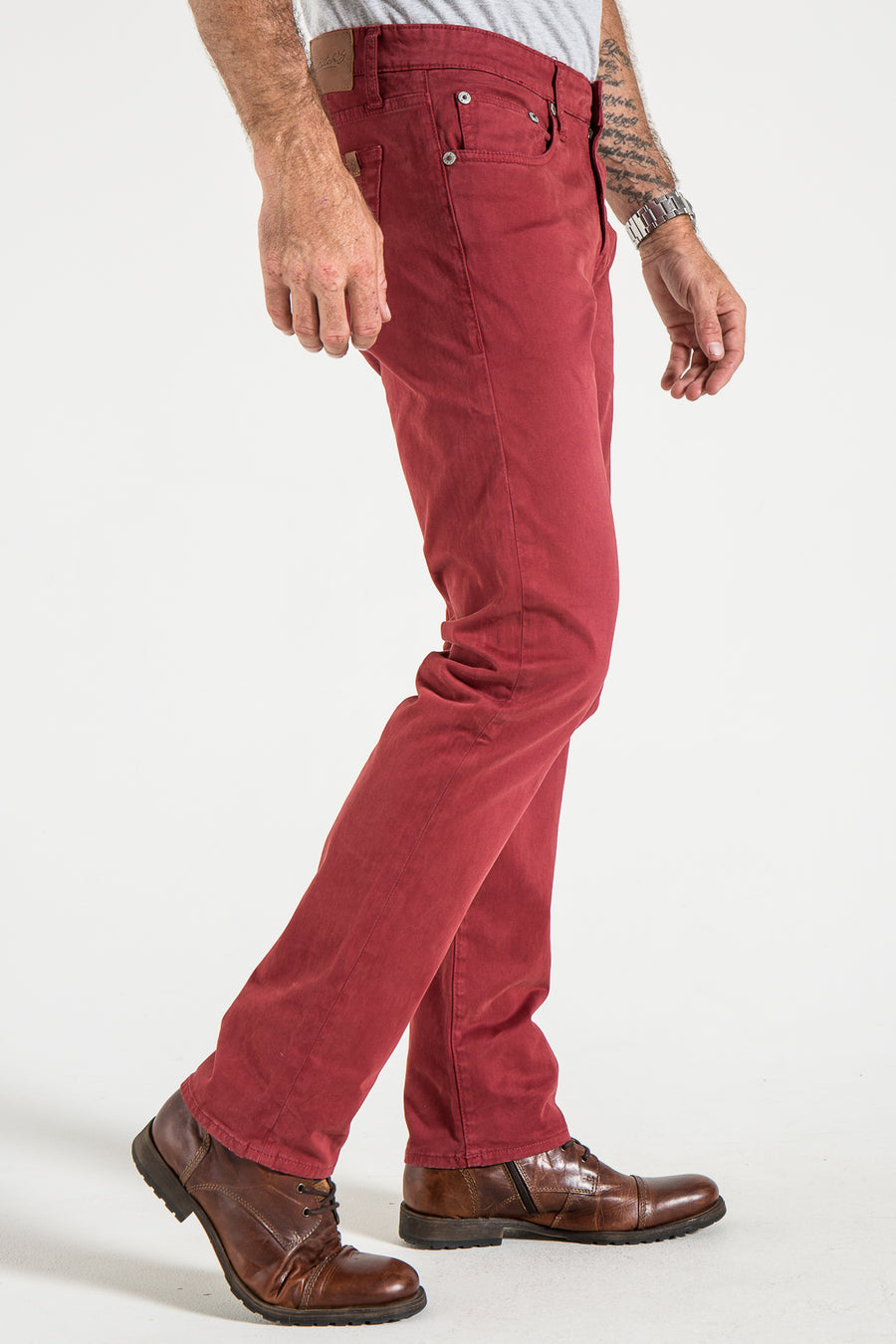 BARFLY SLIM IN CRIMSON SATEEN TWILL