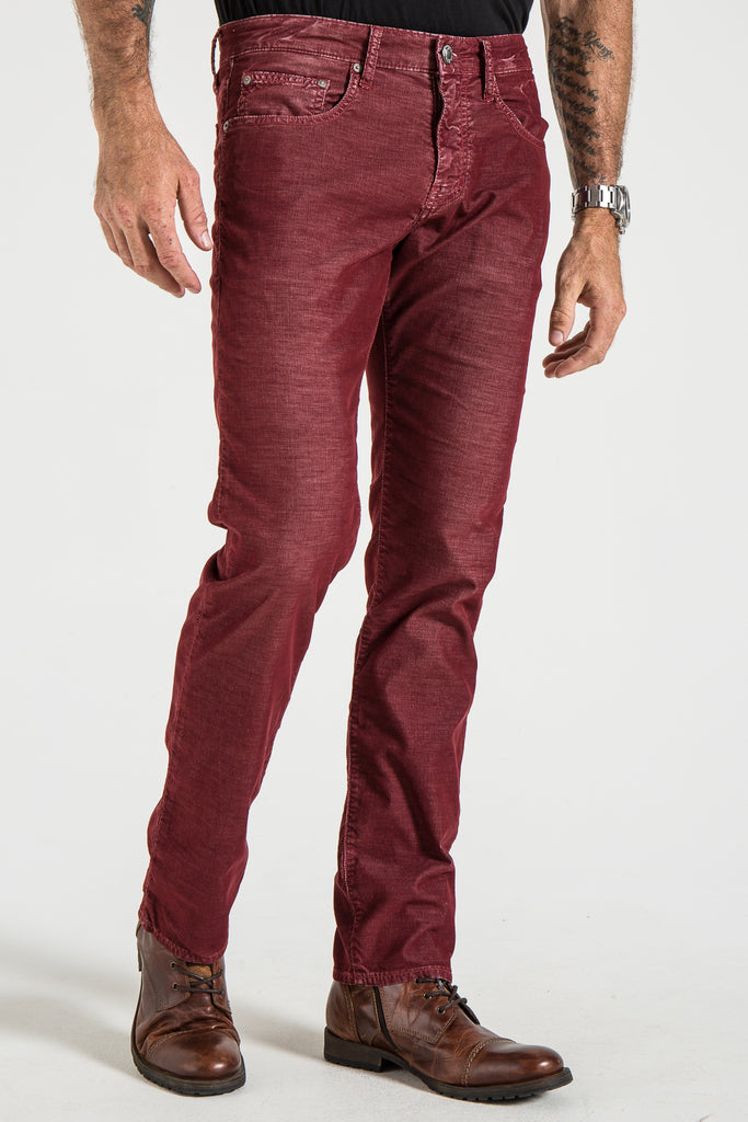 BARFLY SLIM CORD PANTS IN WINE