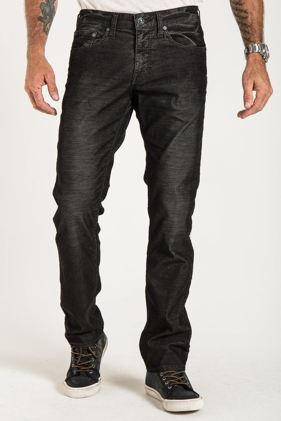 BARFLY SLIM IN BLACK WASHED RUSTIC CORDUROY JEANS