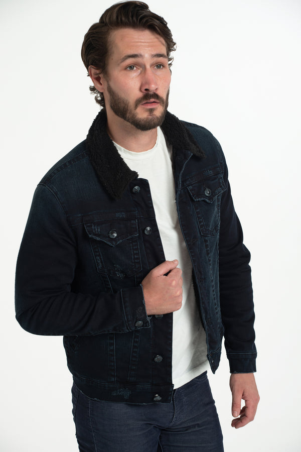 CLASSIC SHERPA DENIM JACKET IMPERIAL BLUE W/ BLACK SHERPA