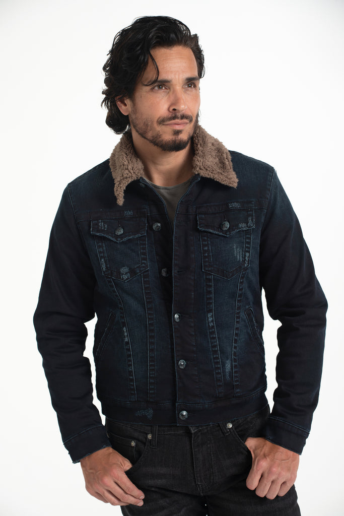 CLASSIC SHERPA DENIM JACKET IMPERIAL BLUE W/ BROWN SHERPA