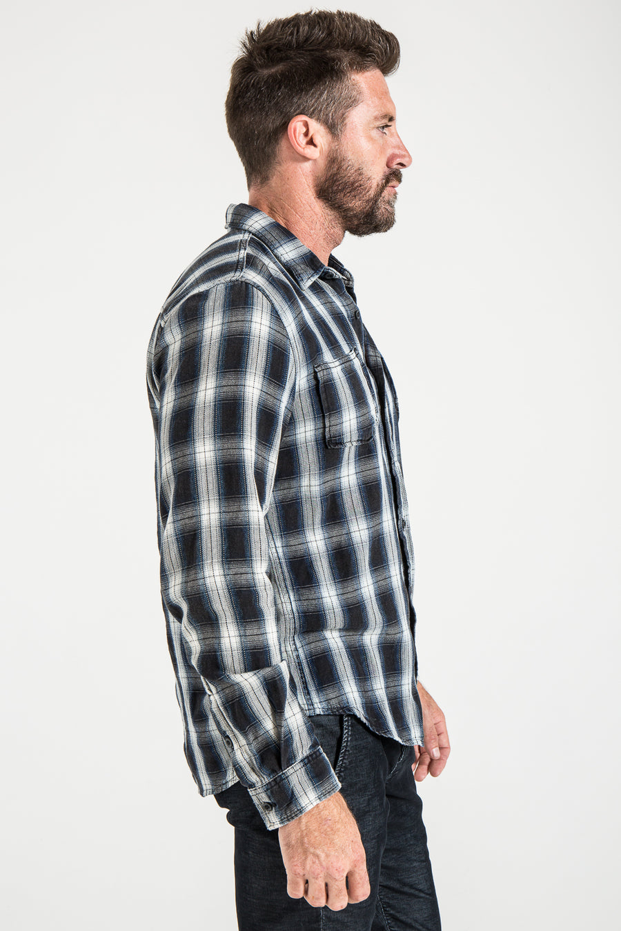 WOVEN PLAID SHIRT IN BLACK/WHITE