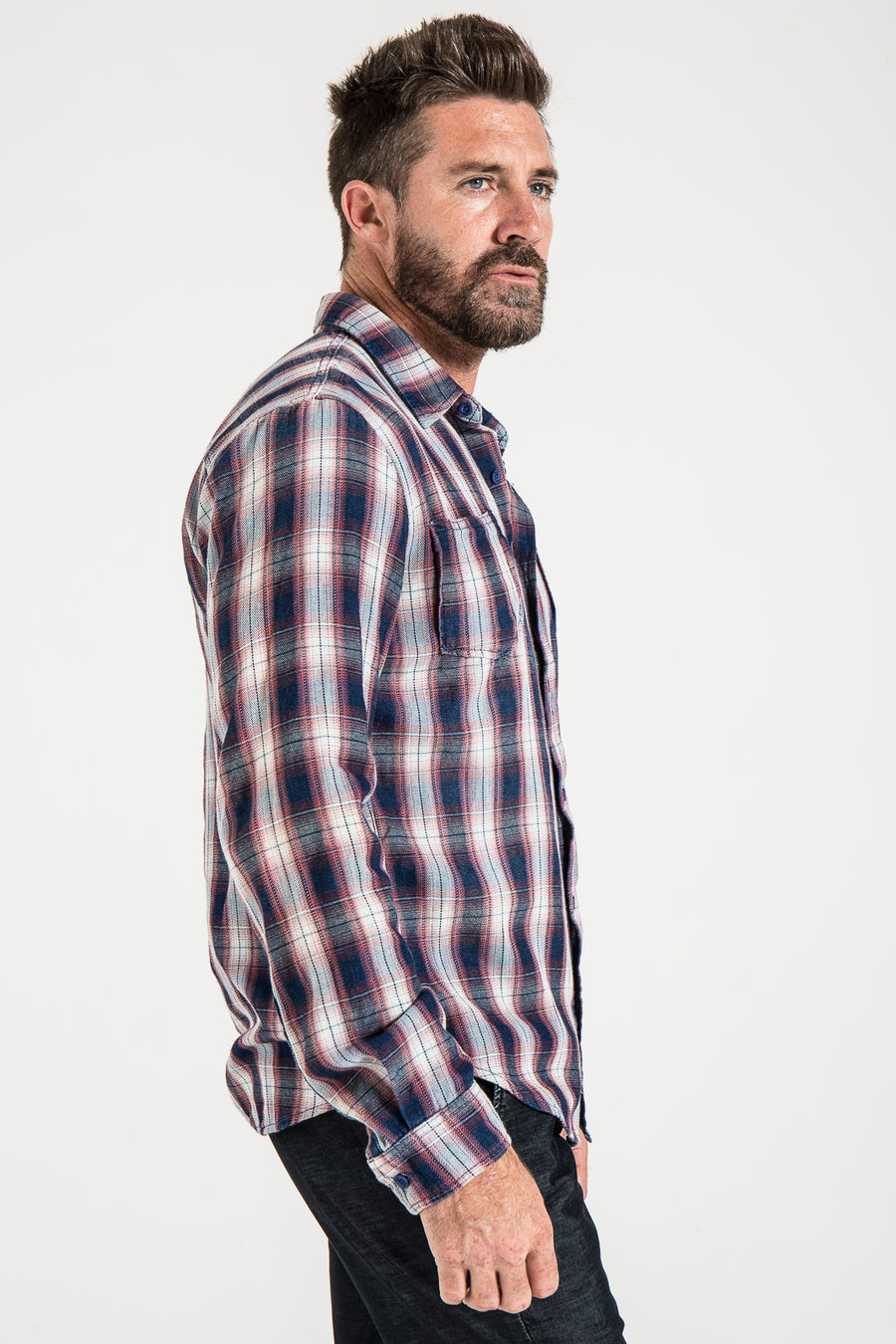 WOVEN PLAID SHIRT IN RED/WHITE