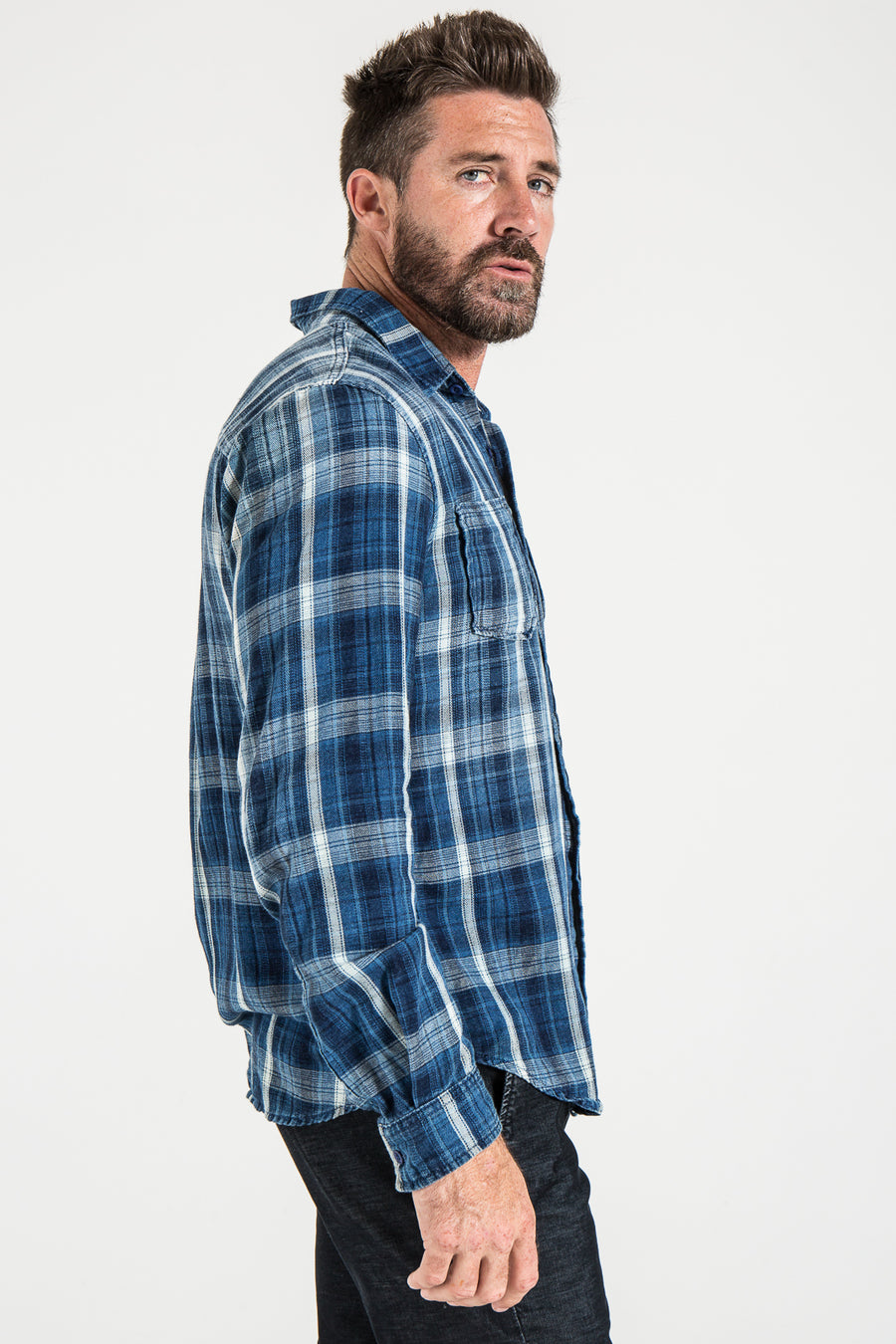 WOVEN PLAID SHIRT IN BLUE