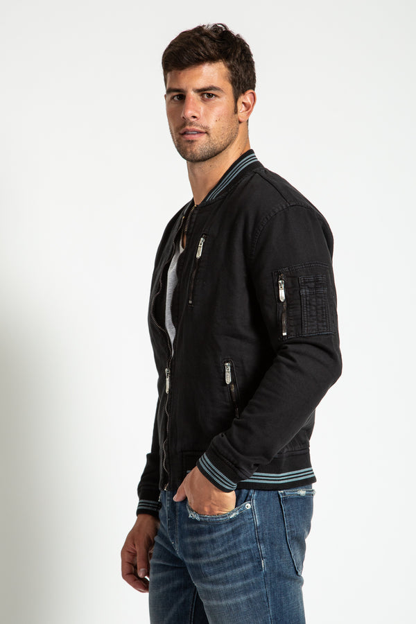 BOMBER JACKET IN JET BLACK