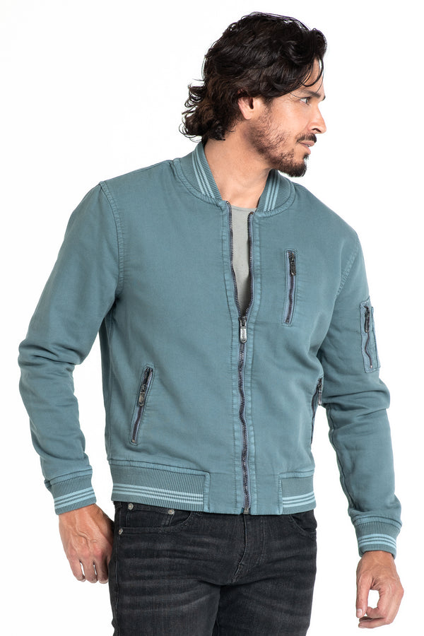 BOMBER JACKET IN STORM GREEN