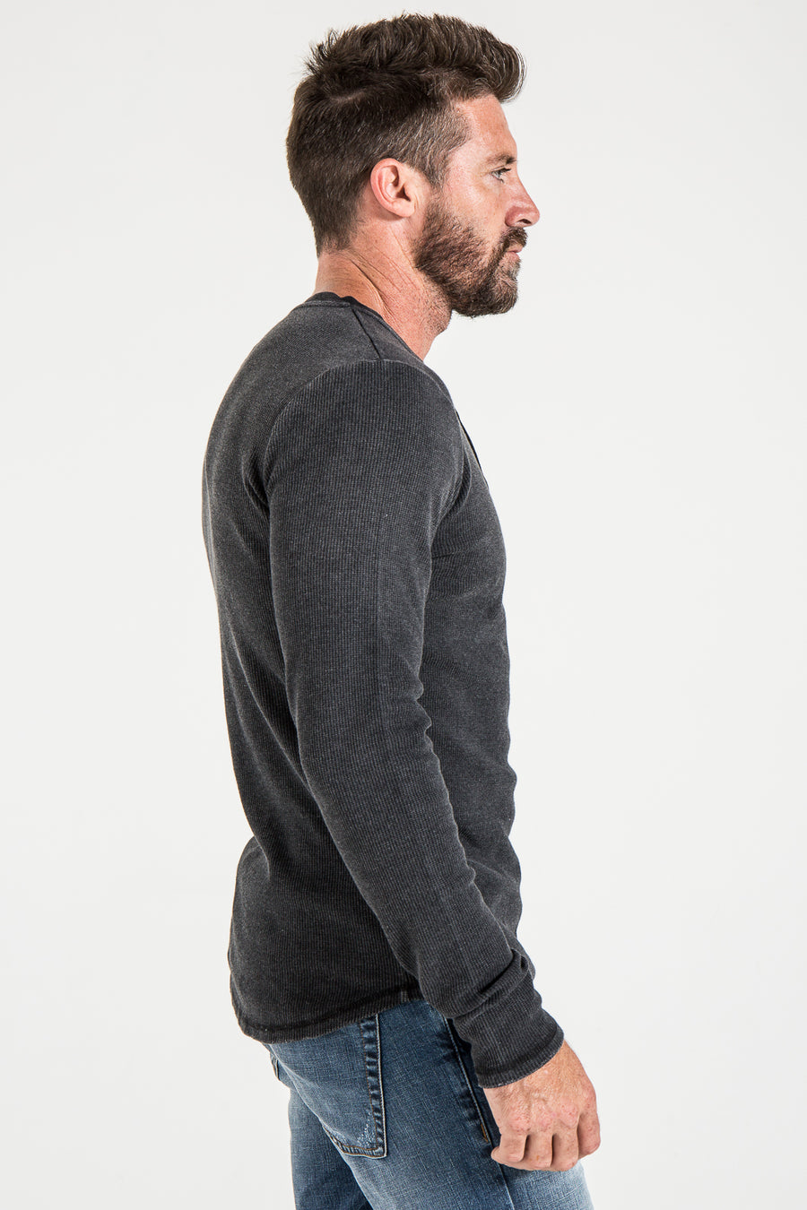 HENLEY SLIM IN BLACK THERMAL KNIT